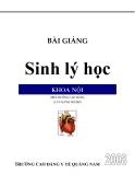 Bài giảng Sinh lý học khoa nội: Phần 1 - CĐ Y tế Quảng Nam