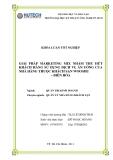 Khóa luận tốt nghiệp: Các giải pháp marketing Mix nhằm thu hút khách hàng sử dụng dịch vụ ăn uống của nhà hàng thuộc khách sạn Wooshu-Biên Hòa