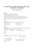 Câu hỏi trắc nghiệm môn Hóa học lớp 11 chương V – Ban KHTN