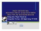 Bài giảng Phân tích rủi ro, bài toán tối ưu & bài toán điểm hòa vốn, dự báo kinh doanh - GV. Phạm Thanh An