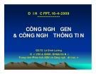 Bài giảng Công nghệ gen và công nghệ thông tin - GS.TS Lê Đình Lương