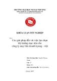 Khóa luận tốt nghiệp: Các giải pháp đối với việc lựa chọn thị trường mục tiêu cho Công ty may liên doanh Kyung - Việt
