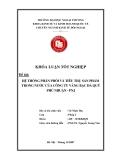 Khóa luận tốt nghiệp: Hệ thống phân phối và tiêu thu sản phẩm trong nước của công ty vàng bạc đá quý Phú Nhật - PNJ