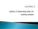 Bài giảng Thị trường chứng khoán: Chương 4 - GV. Nguyễn Thu Hằng
