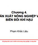 Bài giảng Kiểm soát ô nhiễm môi trường nông nghiệp và nông thôn: Chương 4 - Phạm Khắc Liệu