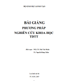 Bài giảng Phương pháp nghiên cứu khoa học TDTT: Phần 2 - PGS.TS. Mai Văn Muôn, TS. Nguyễn Đăng Chiêu