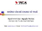 Bài giảng Những vấn đề chung về thuế - Nguyễn Thị Cúc