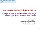 Bài giảng Cơ sở hệ thống thông tin: Chương 11 - PGS.TS. Hà Quang Thụy