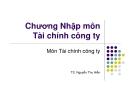 Bài giảng Tài chính công ty: Chương 1 - TS. Nguyễn Thu Hiền