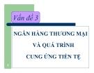 Bài giảng Kinh tế học tiền tệ - ngân hàng: Vấn đề 3 -  TS Nguyễn Thị Thư