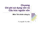 Bài giảng Tài chính công ty: Chương 10 - TS. Nguyễn Thu Hiền