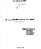 Giáo trình Lý luận hành chính nhà nước: Phần 2 - PGS.TS. Nguyễn Hữu Hải (chủ biên)