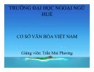 Thuyết trình Cơ sở Văn hóa Việt Nam: Chương VI - ĐH Ngoại ngữ Huế