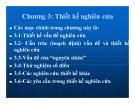 Bài giảng Phương pháp nghiên cứu khoa học - Chương 3: Thiết kế nghiên cứu