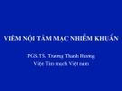 Bài giảng Viêm nội tâm mạc nhiễm khuẩn - PGS.TS. Trương Thanh Hương