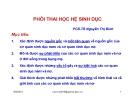 Bài giảng Phôi thai học hệ sinh dục - PGS.TS. Nguyễn Thị Bình
