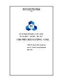 Bài tập nhóm môn quản lý chất lượng: Chi phí chất lượng - COQ