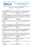 Tuyển chọn những bài tập hay và khó môn Hóa học - Đề 01