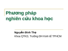 Bài giảng Phương pháp nghiên cứu khoa học - Nguyễn Đình Thọ