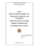 """Đề tài: Phân tích bài nghiên cứu """"creative climate and learning organization factors: their contribution towards innovation"""""""