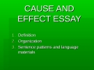 Lecture Cause and effect essay