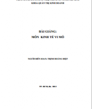 Bài giảng môn Kinh tế vi mô: Phần 1 - Trịnh Hoàng Hiệp