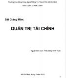 Bài giảng môn Quản trị tài chính: Phần 1 - Đặng Minh Tuấn