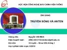 Bài giảng Truyền sóng và anten: Chương 1 - GV. Nguyễn Viết Minh