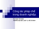 Bài giảng Công tác pháp chế trong doanh nghiệp - TS. Phạm Trí Hùng