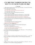 Câu hỏi trắc nghiệm chương VII - Vật lý 11: Mắt và các dụng cụ quang học