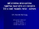 Đề cương bài giảng Những nguyên lý cơ bản của chủ nghĩa Mác - Lênin - ThS. Đỗ Thị Trang