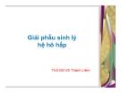 Bài giảng Giải phẫu sinh lý hệ hô hấp - ThS.BS. Võ Thành Liêm