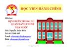 Bài giảng Định biên trong cơ quan hành chính nhà nước - ThS. Nguyễn Xuân Tiến