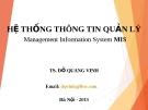 Bài giảng Hệ thống thông tin quản lý - TS. Đỗ Quang Vinh