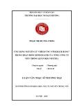 Luận văn thạc sỹ thương mại: Ứng dụng nguyên lý thích ứng với khách hàng trong hoạt động kinh doanh của công ty viễn thông quân đội (Viettel)