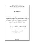 """Luận văn thạc sỹ kinh tế: """"Dịch vụ một cửa"""" trong hoạt động đầu tư nước ngoài tại Việt Nam: Thực trạng và giải pháp"""