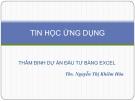 Bài giảng Tin học ứng dụng: Chương 3 - ThS. Nguyễn Thị Khiêm Hòa