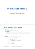 Bài giảng Kỹ thuật lập trình C: Chương 2 - ThS. Trần Quang Hải Bằng