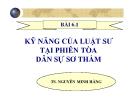 Bài giảng Kỹ năng của luật sư tại phiên tòa dân sự sơ thẩm - TS. Nguyễn Minh Hằng