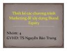 Thuyết trình: Thiết kế chương trình marketing để xây dựng brand equity