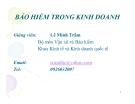 Bài giảng Bảo hiểm trong kinh doanh -  Lê Minh Trâm