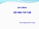 Bài giảng Luật Thương mại quốc tế: Sở hữu trí tuệ - Phan Đặng Hiếu Thuận