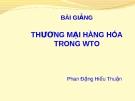 Bài giảng Luật Thương mại quốc tế: Thương mại hàng hóa trong WTO - Phan Đặng Hiếu Thuận