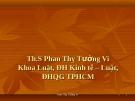 Bài giảng Luật Môi trường: Chương I - Phan Thị Tường Vi