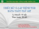 Bài giảng Lập trình và thiết kế web bằng ngôn ngữ ASP: Phần 4 - GV. Dương Khai Phong