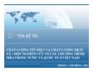 Thuyết trình: Chất lượng tín hiệu và chất lượng dịch vụ: một nghiên cứu về các chương trình MBA trong nước và quốc tế ở Việt Nam