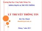 Bài giảng Lý thuyết thông tin: Chương 1 - Bùi Văn Thành