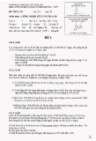 Đề thi môn Công nghệ xử lý nước cấp năm 2013-2014 - ĐH Văn Lang