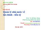 Bài giảng Chuyên đề quản lý nhà nước về tài chính - tiền tệ - PGS.TS. Đỗ Đức Minh