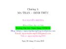 Bài giảng Đại số tuyến tính: Chương 1 - ThS. Nguyễn Phương
